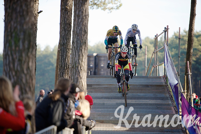 race leaders Laurens Sweeck (BEL/Corendon-Kwadro), Toon Aerts (BEL/Telenet-Fidea) & Michael Vanthourenhout (BEL/Sunweb-Napoleon Games) crossing the bridge<br /> <br /> U23 race<br /> Krawatencross <br /> bpost bank trofee 2015