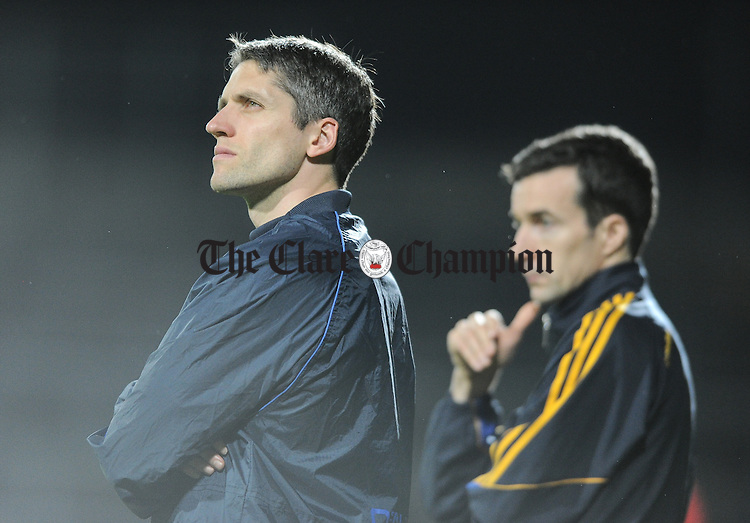 Clare coach Gordon Kelly and mentor David O Connell on the sideline against against Tipperary during their U-17 Munster League final in The Gaelic Grounds. Photograph by John Kelly.