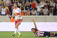 Juan Pablo Angel (9) of the New York Red Bulls reacts to having a goal waved off for offsides. The New York Red Bulls defeated Chivas USA 1-0 during a Major League Soccer (MLS) match at Red Bull Arena in Harrison, NJ, on June 5, 2010.