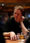 "Jon ""Pearljammer"" Turner is near the top of the chip count during the next to last level of play on Day 2."