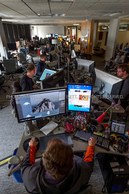 6/18/2012--Bellevue, WA, USA..Valve Software's offices in Bellevue, WASH., just east of Seattle. The office is set up as a 'boss less' office that is fluid and non-hierarchical. Desks come wheels so that they can be easily moved and reconfigured to create new work spaces for new projects...Stuart Isett for The Wall Street Journal