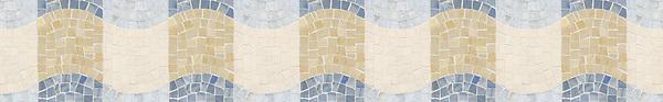 "6 1/4"" Milky Way border, a hand-cut stone mosaic, shown in honed Ivory Cream, polished Renaissance Bronze, Blue Macauba, and Celeste."
