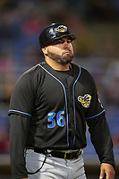 Akron RubberDucks coach Omir Santos (36) during a game against the Binghamton Rumble Ponies on May 12, 2017 at NYSEG Stadium in Binghamton, New York.  Akron defeated Binghamton 5-1.  (Mike Janes/Four Seam Images)