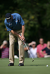 6 September 2008:   Jim Furyk putts in the third round of play at the BMW Golf Championship at Bellerive Country Club in Town & Country, Missouri, a suburb of St. Louis, Missouri. Furyk was the leader after the conclusion of round two with a score of 62.  After the first nine holes of the 18-hole third round, Furyk was 11 under-par.  The BMW Championship is the third event of the Fed Ex Cup and the top 30 finishers will qualify for the next event of the championship.