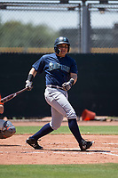Seattle Mariners third baseman Nolan Perez (57) follows through on his swing during an Extended Spring Training game against the San Francisco Giants Orange at the San Francisco Giants Training Complex on May 28, 2018 in Scottsdale, Arizona. (Zachary Lucy/Four Seam Images)