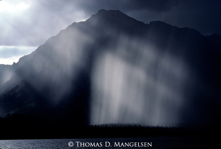 A rainstorm over Jackson Lake in Grand Teton National Park, Wyoming.