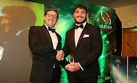 Thursday 10th May 2018 | Ulster Rugby Awards 2018<br /> <br /> Terry Knox, Managing Director, CD Group presents the CD Group Ulster A Player of the Year award to Tom O&rsquo;Toole, during the 2018 Heineken Ulster Rugby Awards at La Mom Hotel, Belfast. Photo by John Dickson / DICKSONDIGITAL
