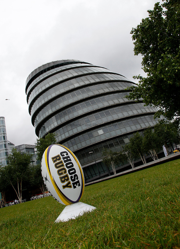 Photo: Richard Lane/Richard Lane Photography. O2 Touch Launch, an RFU initiative aiming to get England playing touch rugby at Potters Field, London. 17/06/2011. Choose Rugby ball.