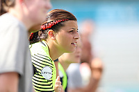 Cary, North Carolina  - Saturday July 01, 2017: Sabrina D'Angelo watches the game wearing a red braid in her hair in honor of Canada Day during a regular season National Women's Soccer League (NWSL) match between the North Carolina Courage and the Sky Blue FC at Sahlen's Stadium at WakeMed Soccer Park. Sky Blue FC won the game 1-0.