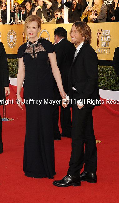 LOS ANGELES, CA - January 30: Nicole Kidman and Keith Urban arrive at the 17th Annual Screen Actors Guild Awards held at The Shrine Auditorium on January 30, 2011 in Los Angeles, California.