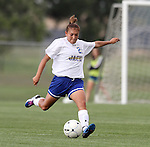 BROOKINGS, SD - AUGUST 16:  Stacy Guijarro 21 from South Dakota State University passes the ball against Winnipeg in the first half of their game Friday evening at Fischback Soccer Field in Brookings. (Photo by Dave Eggen/Inertia)