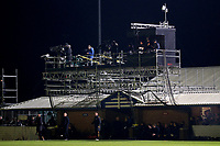 BBC TV gantry erected above the dugout area during Maldon & Tiptree vs Newport County, Emirates FA Cup Football at the Wallace Binder Ground on 29th November 2019