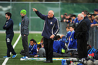 PNBHS coach Steve Burnley makes a point during the 1st XI college football match between St Patrick's College (Town) College and Palmerston North Boys' High School at St Pat's College Artificial Turf, Wellington, New Zealand on Wednesday, 13 May 2015. Photo: Dave Lintott / lintottphoto.co.nz