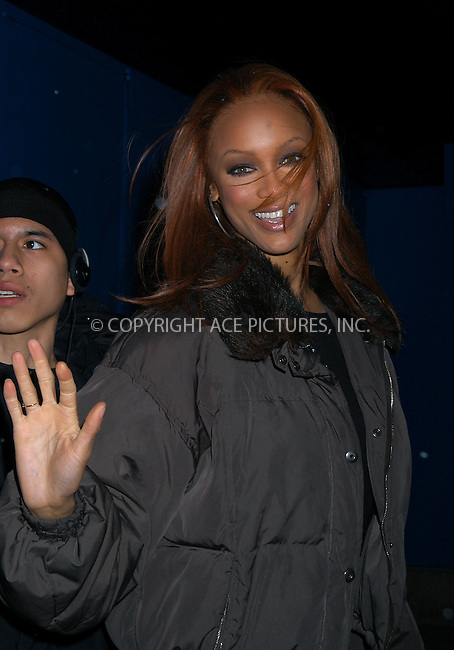 Model Tyra Banks making an appearance on MTV's 'TRL' Show. New York, February 24, 2004. Please byline: AJ SOKALNER/ACE Pictures.   ..*PAY-PER-USE*      ....IMPORTANT: Please note that our old trade name, NEW YORK PHOTO PRESS (NYPP), is replaced by new name, ACE PICTURES. New York Photo Press and ACE Pictures are owned by All Celebrity Entertainment, Inc.......All Celebrity Entertainment, Inc:  ..contact: Alecsey Boldeskul (646) 267-6913 ..Philip Vaughan (646) 769-0430..e-mail: info@nyphotopress.com