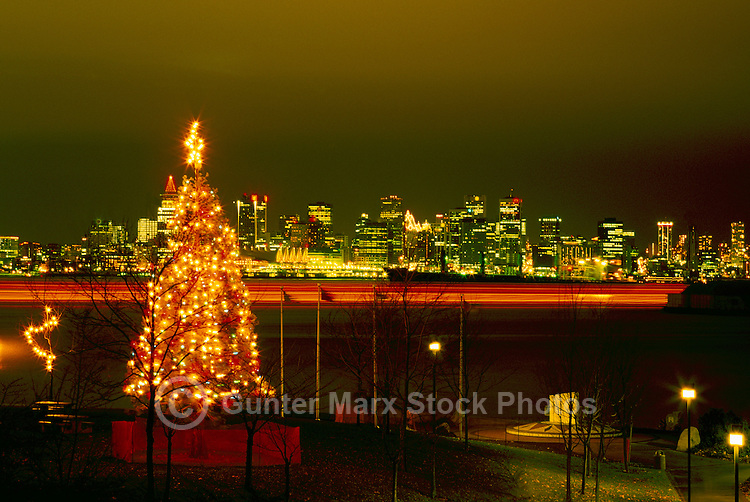North Vancouver, BC, British Columbia, Canada   Christmas Tree Lights  Against Downtown Vancouver
