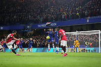 A free-kick from Manchester United's Bruno Fernandes hits the Chelsea goalpost and rebounds to safety during Chelsea vs Manchester United, Premier League Football at Stamford Bridge on 17th February 2020