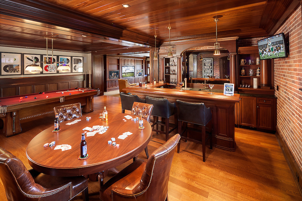 Basement Bar/Billiard Room with Hidden Speakers and Multiple Displays