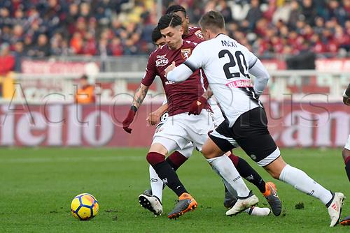 11th February 2018, Stadio Olimpico di Torino, Turin, Italy; Serie A football, Torino versus Udinese; Daniele Baselli wins the challenge