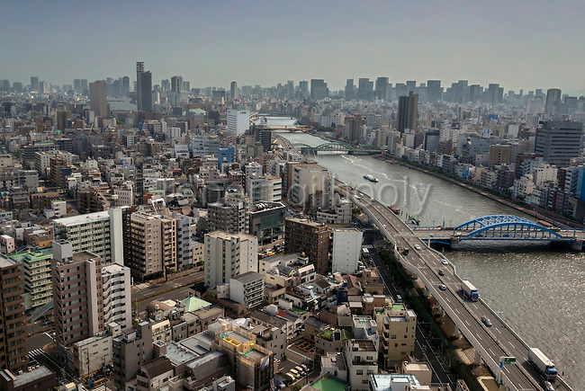 Photo shows the Sumida River from the Asahi Beer Hall in Asakusa district, Tokyo, Japan. ROB GILHOOLY