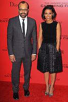 "NEW YORK, NY - NOVEMBER 20: Jeffrey Wright, Meta Golding at the New York Premiere Of Lionsgate's ""The Hunger Games: Catching Fire"" held at AMC Lincoln Square Theater on November 20, 2013 in New York City. (Photo by Jeffery Duran/Celebrity Monitor)"