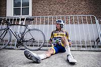 Sander De Pestel (BEL/Sport Vlaanderen Baloise) post race exhausted<br /> <br /> <br /> Dwars Door Het Hageland 2020<br /> One Day Race: Aarschot – Diest 180km (UCI 1.1)<br /> Bingoal Cycling Cup 2020