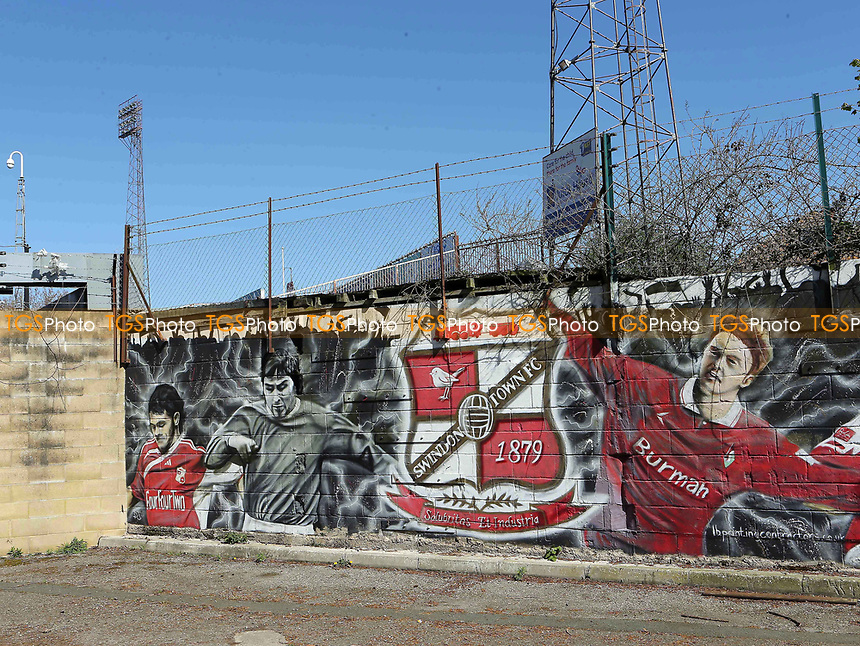 A mural outside the Swindon Town ground during Swindon Town vs MK Dons, Sky Bet EFL League 1 Football at the County Ground on 8th April 2017