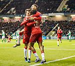 20.12.2019 Hibs v Rangers: Joe Aribo celebrates his goal with Ryan Jack and James Tavernier