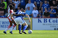 Emmanuel Sonupe of Stevenage and Connor Jennings of Tranmere Rovers during Stevenage vs Tranmere Rovers, Sky Bet EFL League 2 Football at the Lamex Stadium on 4th August 2018