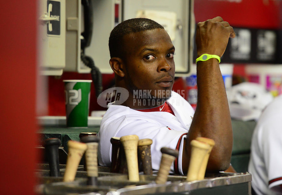 Jun. 8, 2012; Phoenix, AZ, USA; Arizona Diamondbacks outfielder Justin Upton in the dugout in the eighth inning against the Oakland Athletics at Chase Field.  Mandatory Credit: Mark J. Rebilas-