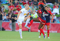 Boyds, MD - Saturday Sept. 03, 2016: Samantha Mewis, Cheyna Williams during a regular season National Women's Soccer League (NWSL) match between the Washington Spirit and the Western New York Flash at Maureen Hendricks Field, Maryland SoccerPlex.