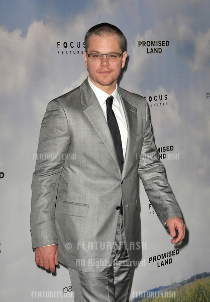 "Matt Damon at the Los Angeles premiere of his new movie ""Promised Land"" at the Directors Guild Theatre..December 6, 2012  Los Angeles, CA.Picture: Paul Smith / Featureflash"