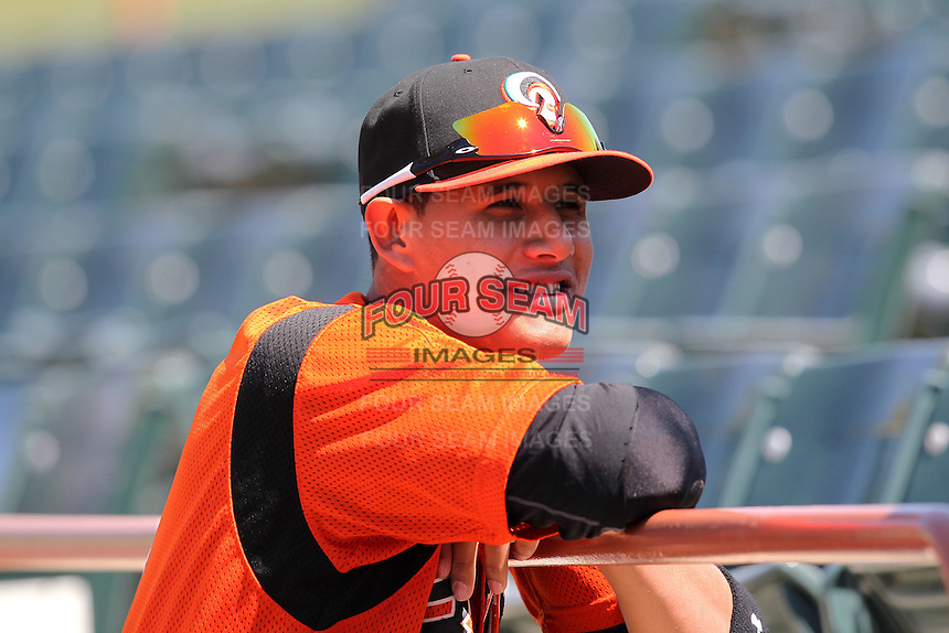 Bowie BaySox shortstop Manny Machado #3 before a game against the Harrisburg Senators at Prince George's Stadium on April 8, 2012 in Bowie, Maryland.  Harrisburg defeated Bowie 5-2.  (Mike Janes/Four Seam Images)