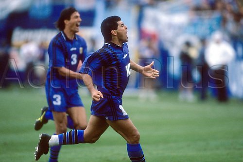 21 06 1994. Boston, Masschusetts, USA. Diego Armando Maradona Argentina goal celebration World Cup 1994