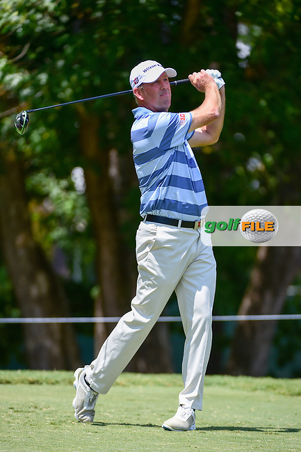Mike Small (USA) watches his tee shot on 5 during Thursday's round 1 of the PGA Championship at the Quail Hollow Club in Charlotte, North Carolina. 8/10/2017.<br /> Picture: Golffile | Ken Murray<br /> <br /> <br /> All photo usage must carry mandatory copyright credit (&copy; Golffile | Ken Murray)
