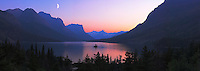 St Mary's Lake and Wild Goose Island at sunset in Glacier National Park. Stitched panorama