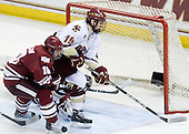 Doug Kublin (UMass - 18), Chris Kreider (BC - 19) - The Boston College Eagles defeated the University of Massachusetts-Amherst Minutemen 5-2 on Saturday, March 13, 2010, at Conte Forum in Chestnut Hill, Massachusetts, to sweep their Hockey East Quarterfinals matchup.