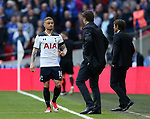 Tottenham's Kieran Trippier talks to Mauricio Pochettino during the FA Cup Semi Final match at Wembley Stadium, London. Picture date: April 22nd, 2017. Pic credit should read: David Klein/Sportimage
