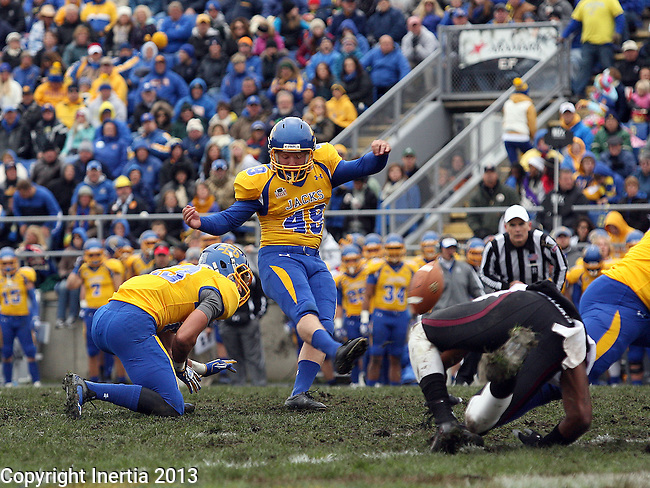 BROOKINGS, SD - OCTOBER 5:  Justin Syrovatka #49 from South Dakota State University kicks a field goal against Southern Illinois in the second quarter Saturday afternoon at Coughlin Alumni Stadium in Brookings. (Photo by Dave Eggen/Inertia)