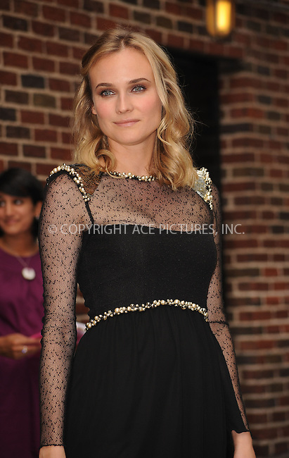 WWW.ACEPIXS.COM . . . . . ....August 18 2009, New York City....Actress Diane Kruger made an appearance at the 'Late Show with David Letterman' on August 18 2009 in New York City....Please byline: KRISTIN CALLAHAN - ACEPIXS.COM.. . . . . . ..Ace Pictures, Inc:  ..tel: (212) 243 8787 or (646) 769 0430..e-mail: info@acepixs.com..web: http://www.acepixs.com