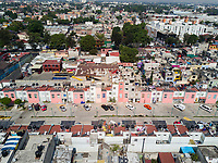 Azcapotzalco near the rail yard Aerial drone photo, Mexico City, Mexico
