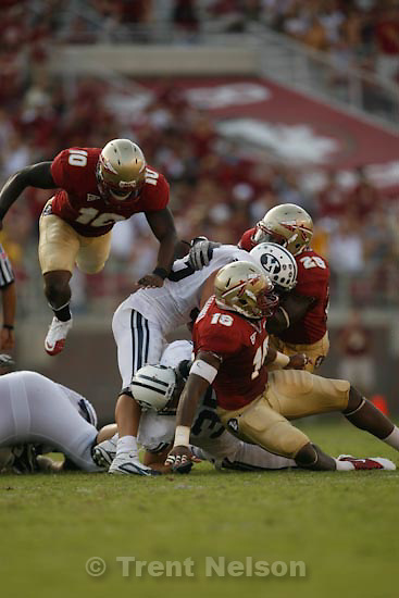 Trent Nelson  |  The Salt Lake Tribune.Florida State defenders Nick Moody (10), Mister Alexander (16) and Kendall Smith (29) stop BYU running back Bryan Kariya (33) during the second half, BYU vs. Florida State, college football Saturday, September 18, 2010 at Doak Campbell Stadium in Tallahassee, Florida.