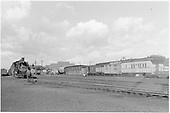 D&amp;RGW Alamosa yard scene with #490 pumping up a freight.  Some outfit cars also in view.<br /> D&amp;RGW  Alamosa, CO  Taken by Richardson, Robert W. - 1949