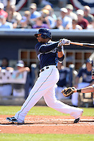 Tampa Bay Rays outfielder Desmond Jennings (8) during a spring training game against the Minnesota Twins on March 2, 2014 at Charlotte Sports Park in Port Charlotte, Florida.  Tampa Bay defeated Minnesota 6-3.  (Mike Janes/Four Seam Images)