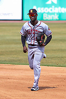Quad Cities River Bandits outfielder Daz Cameron (16) jogs into the dugout between innings during a Midwest League game against the Wisconsin Timber Rattlers on April 9, 2017 at Fox Cities Stadium in Appleton, Wisconsin.  Quad Cities defeated Wisconsin 17-11. (Brad Krause/Four Seam Images)