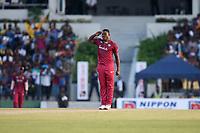 February 26th 2020, the Mahinda Rajapaksha International Stadium, Hambantota, Sri Lanka; One Day International cricket, Sri Lanka versus West Indies; Sheldon Cottrell celebrates by saluting as he takes a wicket