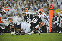 27 September 2008:  Penn State LB Navorro Bowman (18) hits Illinois QB Juice Williams (7) after a throw.  The Penn State Nittany Lions defeated the Illinois Fighting Illini 38-24 September 27, 2008 at Beaver Stadium in State College, PA..