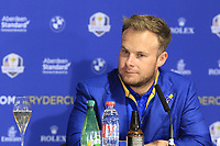 Tyrrell Hatton (Team Europe) at the press conference after Europe win the Ryder Cup 17.5 to 10.5 at the end of Sunday's Singles Matches at the 2018 Ryder Cup 2018, Le Golf National, Ile-de-France, France. 30/09/2018.<br /> Picture Eoin Clarke / Golffile.ie<br /> <br /> All photo usage must carry mandatory copyright credit (&copy; Golffile | Eoin Clarke)