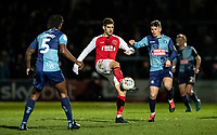Fleetwood Town's Ched Evans (centre) competing with Wycombe Wanderers' Dominic Gape (right) <br /> <br /> Photographer Andrew Kearns/CameraSport<br /> <br /> The EFL Sky Bet League One - Wycombe Wanderers v Fleetwood Town - Tuesday 11th February 2020 - Adams Park - Wycombe<br /> <br /> World Copyright © 2020 CameraSport. All rights reserved. 43 Linden Ave. Countesthorpe. Leicester. England. LE8 5PG - Tel: +44 (0) 116 277 4147 - admin@camerasport.com - www.camerasport.com