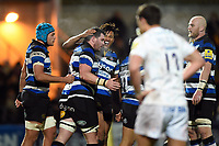 James Phillips of Bath Rugby celebrates his try with team-mates. Aviva Premiership match, between Worcester Warriors and Bath Rugby on January 5, 2018 at Sixways Stadium in Worcester, England. Photo by: Patrick Khachfe / Onside Images
