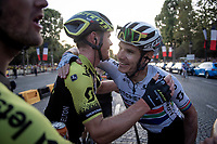 Daryl Impey (ZAF/Mitchelton-Scott) & Michael Hepburn (AUS/Mitchelton-Scott)  hugging after finishing the 2019 Tour on the Champs-Élysées<br /> <br /> Stage 21: Rambouillet to Paris (128km)<br /> 106th Tour de France 2019 (2.UWT)<br /> <br /> ©kramon